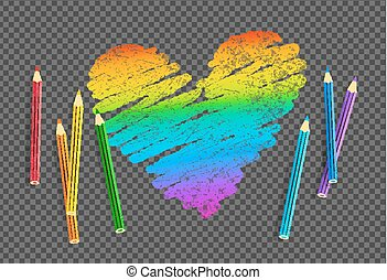 Vector sketch of rainbow colored heart with color pencils on...
