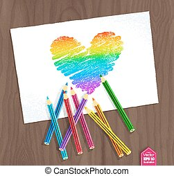 Rainbow heart with color pencils - Top view vector...