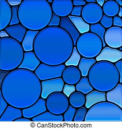 abstract vector stained-glass mosaic background - blue...