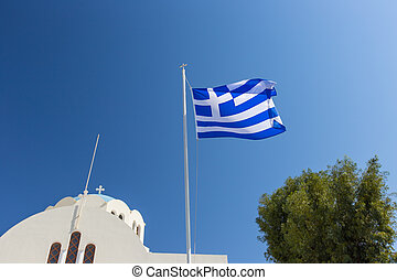 Cycladic church with greek flag, Greece - Cycladic church...