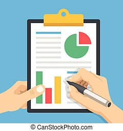 Hand holding financial document with charts, graphs and hand holding pen. Clipboard with financial statement. Business report, paperwork, business income data flat design concepts. Vector illustration