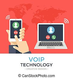 VoIP technology, voice over IP, IP telephony concept. Hand...
