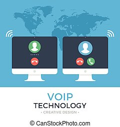 VoIP technology, voice over IP, IP telephony concept. Two...