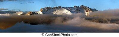 mount Marmolada, Alps Dolomites mountains, Italy - morning...