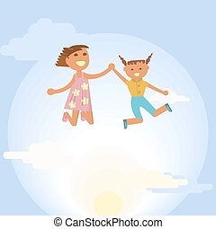 Happy little girls is jumping on sky background. Vector...