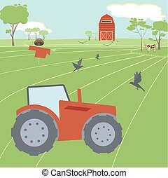 Farming landscape with tractor