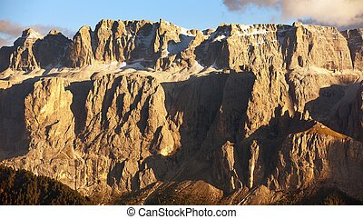 Evening view of Sella gruppe or Gruppo di Sella, South...