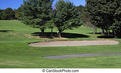 Golf sand trap - A sand trap in a country golf course.