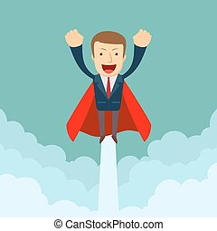 Superhero super successful businessman flying in the sky.