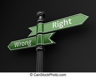 Wrong and wright pointers on signpost. Image with clipping...