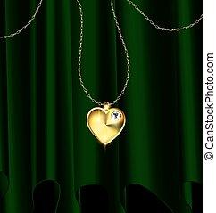 green drape and golden heart pendant