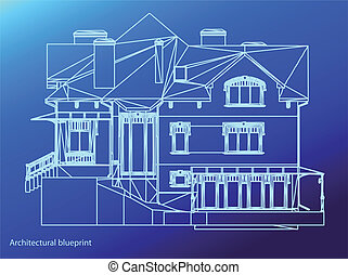 House facade. Vector illustration - CAD elevations for a...