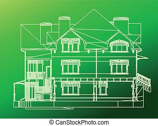 House facade. Vector green illustration