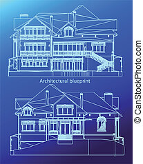 House facade. Vector - CAD elevations for a house front rear...
