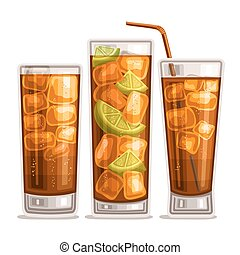Vector set of fizzy Drinks: 3 glossy glasses with alcohol...