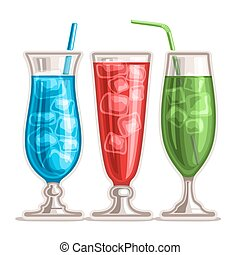 Vector set of colorful Cocktails: 3 tall glasses with...