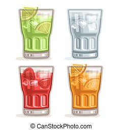 Vector set colorful Drinks: 4 glasses with green alcohol...