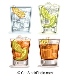 Vector set of short Drinks: 4 glasses with alcohol cocktail...