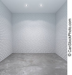 empty white room with brick walls