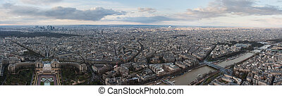 Panorama of Paris from Eiffel tower. View on the Palais de...