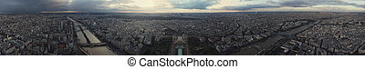 Panorama of Paris after the storm from Eiffel tower. View on...