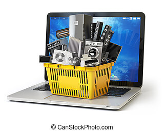 E-commerce online shopping or delivery concept. Home appliance in shopping cart on the laptop keyboard isolated on white. 3d