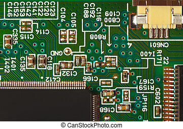 Modern microelectronic circuit board with components...