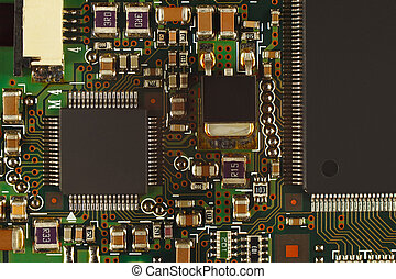 Microelectronic circuit with microchips board from digital...