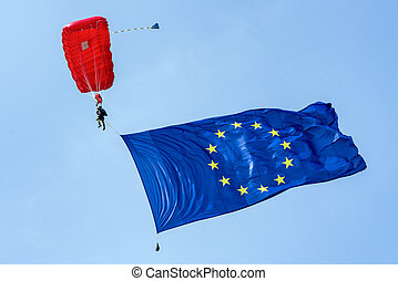 Parachuter with flag of European union - Parachuter with...