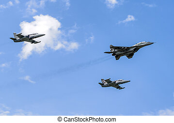 Air formation of one Mig-29 Fulcrum and two L-159 Alca -...