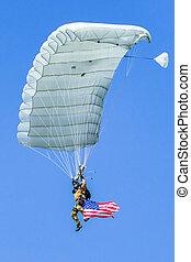 Parachuter with american flag - SLIAC, SLOVAKIA -...