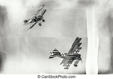 Dogfight between biplane and triplane - SLIAC, SLOVAKIA -...
