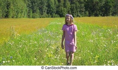 Girl walking on the field. - Girl walks the field, among...