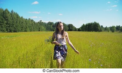 Summer landscape, girl, field of flax - Aerial view girl is...
