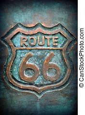 Old route 66 sign in bronze.