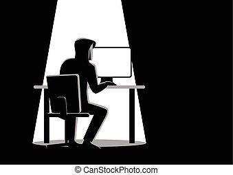 Black and white illustration of a hacker behind desktop...