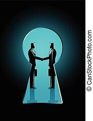 Businessmen shaking hands seen through a keyhole - Business...