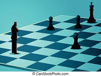 Businessman standing while thinking on chessboard - Business...