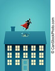 Superhero businessman flying through the roof - Business...
