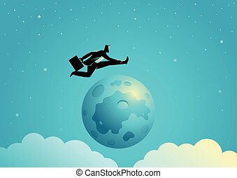 Businessman jumping over the moon - Business concept...
