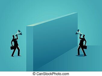Two businessmen shouting each other with megaphone -...