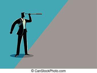 Businessman using telescope looking into gray area -...