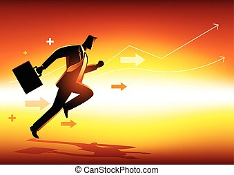 Business concept illustration of a businessman running
