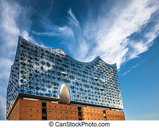 The Elbe Philharmonic Hall or Elbphilharmonie, concert hall...