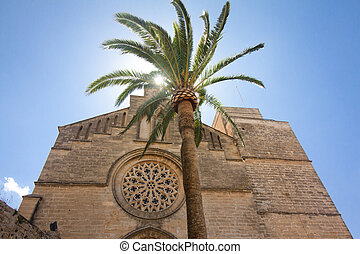 Old Town, Sant Jaume church in Majorca. Alcudia, Mallorca,...