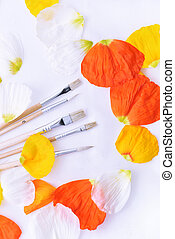 Colored abstraction of brushes for drawing. Flower leaves...