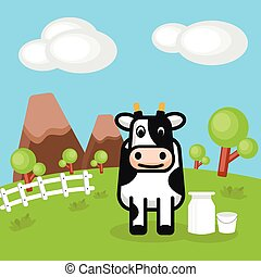 Rural landscape with farm dairy and Milk cans.
