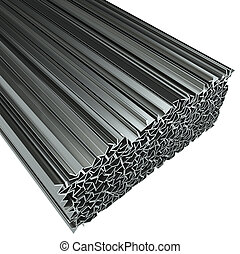 Rolled metal L-bar, isolated on white background. 3D...