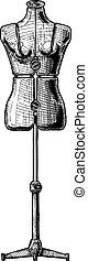 illustration of dress form - Adjustable dress form. Vector...