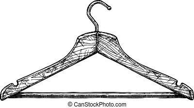 illustration of coat hanger - Vector black-and-white hand...